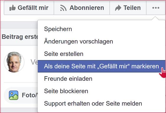 """Facebook Menü """"Als deine Seite mit 'Gefällt mir' markieren"""